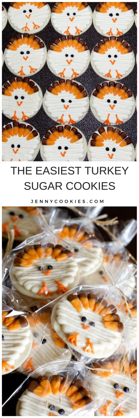 turkey cookies | thanksgiving cookies | thanksgiving desserts | how to decorate cookies for thanksgiving | holiday cookie recipes | turkey themed desserts || JennyCookies.com #turkeycookies #thanksgiving #thanksgivingdesserts #cookiedecorating