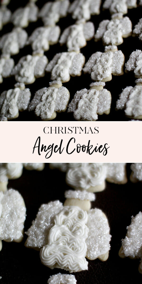 These Christmas Angel Cookies are an easy, but festive, addition to your holiday table! || JennyCookies.com #christmas #christmascookies #cookiedecorating