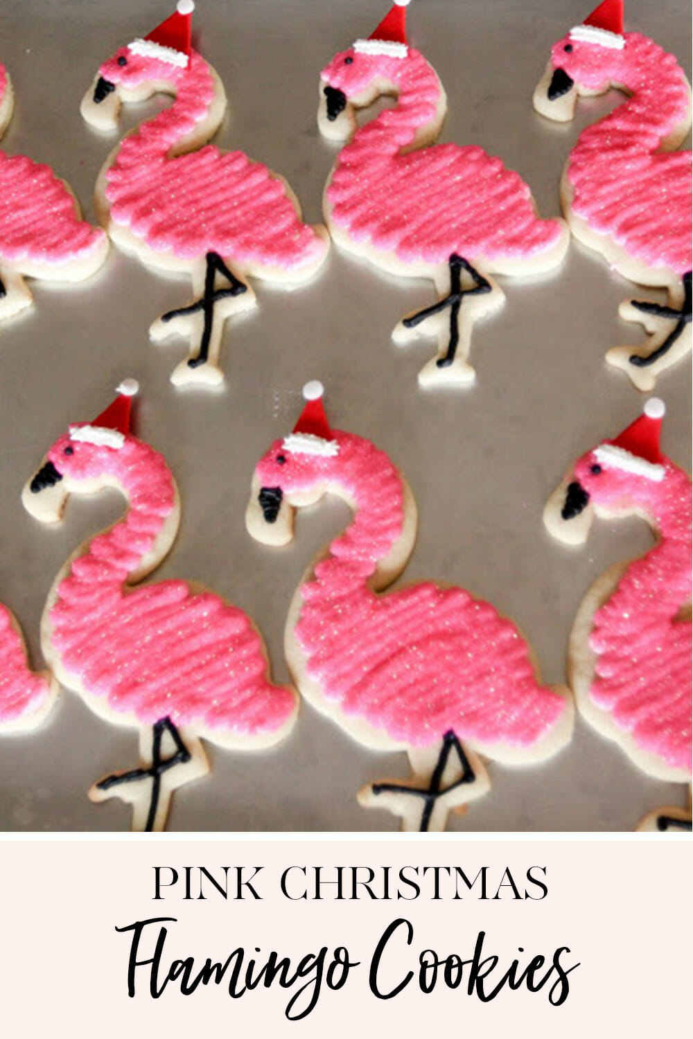 These Pink Christmas Flamingo Cookies are a fun twist on a holiday treat! Decorate and package them up for your next holiday party. || JennyCookies.com #christmascookies #holidaydesserts #christmascookies