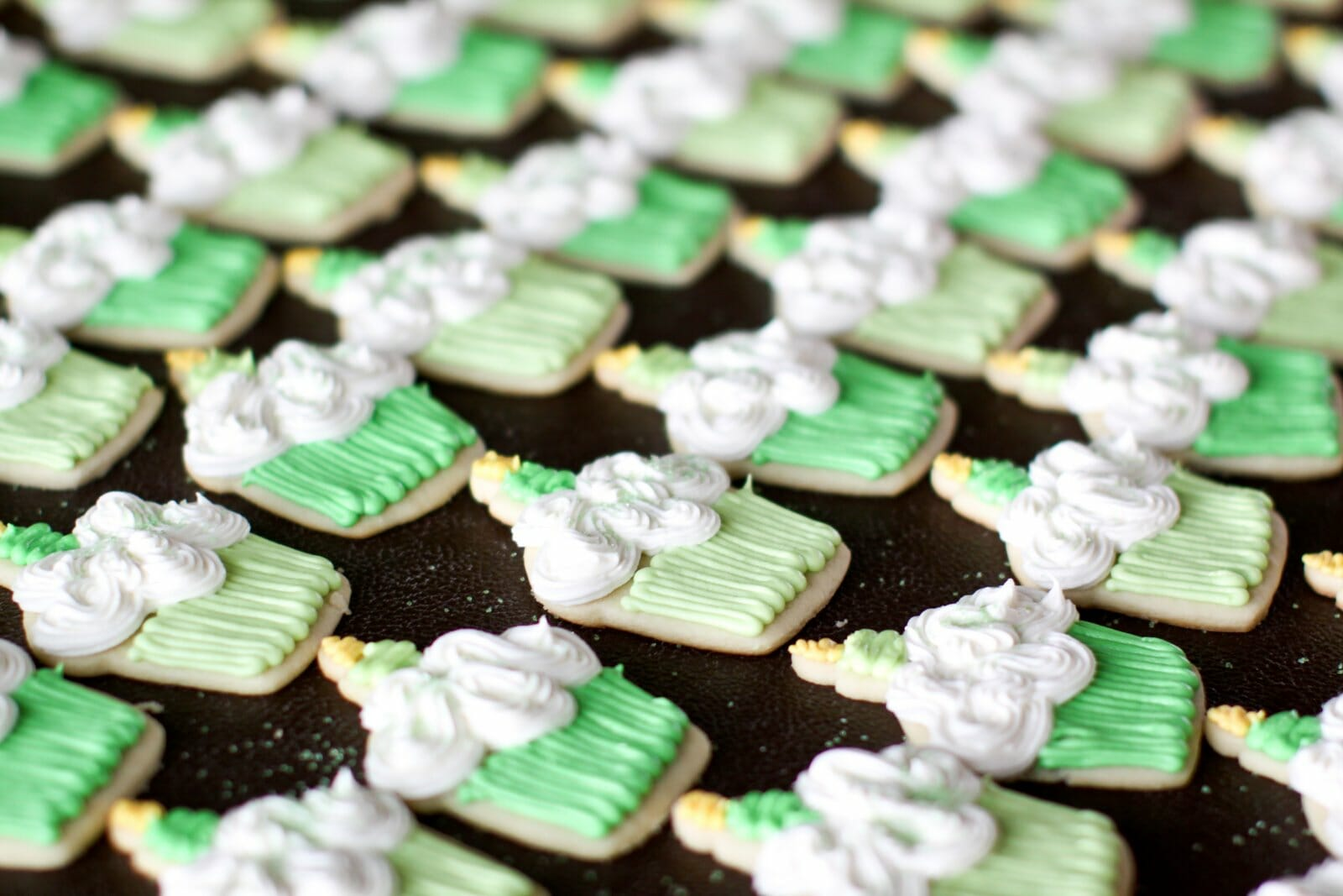 Green and White Themed Cookies