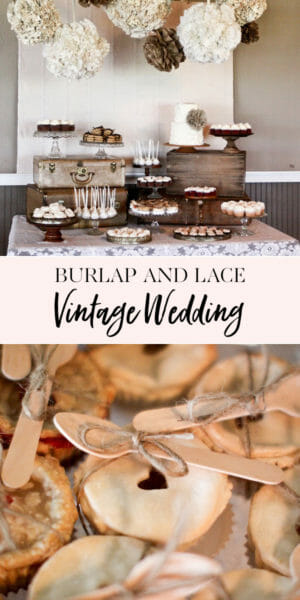 Burlap & Lace | rustic wedding dessert table | wedding dessert table ideas | wedding dessert recipes || JennyCookies.com #weddingdesserts #desserttable #rusticwedding #jennycookies