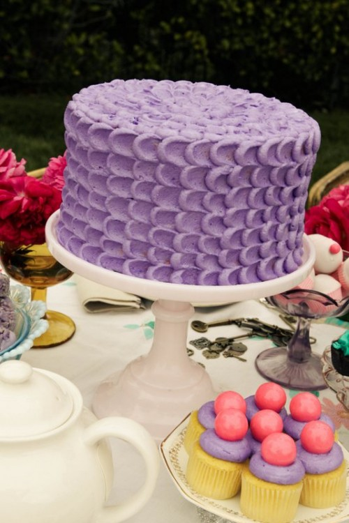 purple scalloped cake