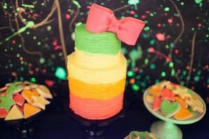 Neon 80's Birthday Party Dessert Table by Jenny Cookies