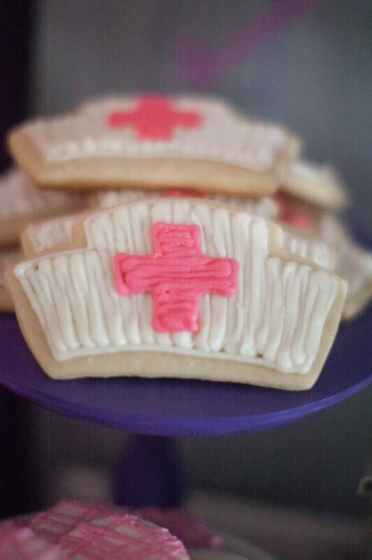 nurse hat cookies
