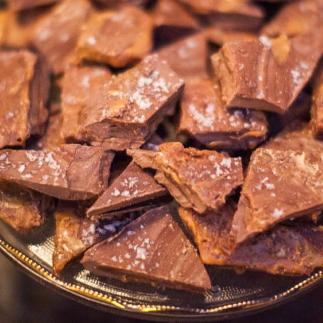 Salted Caramel Christmas Bark recipe from @tathiessen's holiday party on the blog! (Link in profile) You'll eat it until you're sick...at least I did. It's so good!!