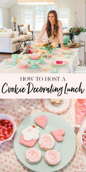 How to Host a Cookie Decorating Ladies Lunch | cookie decorating party | fun party ideas for women | ladies lunch ideas | hosting a ladies lunch | Galentine's Day party ideas || JennyCookies.com #ladieslunch #cookieparty #galentinesday #jennycookies