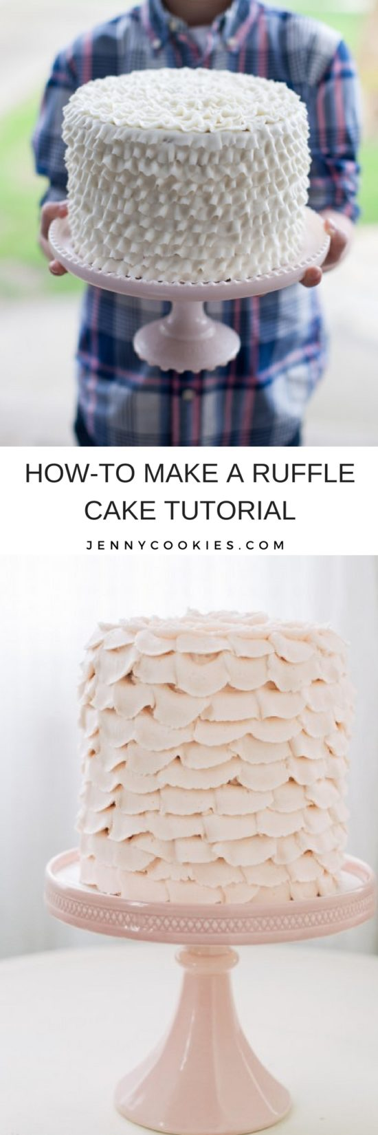 How to Make a Ruffle Cake | ruffle cake tutorial | diy ruffle cake | cake decorating tips | easy cake decor | how to decorate a cake | cake decorating ideas || JennyCookies.com #rufflecake #cakedecorating #caketutorial