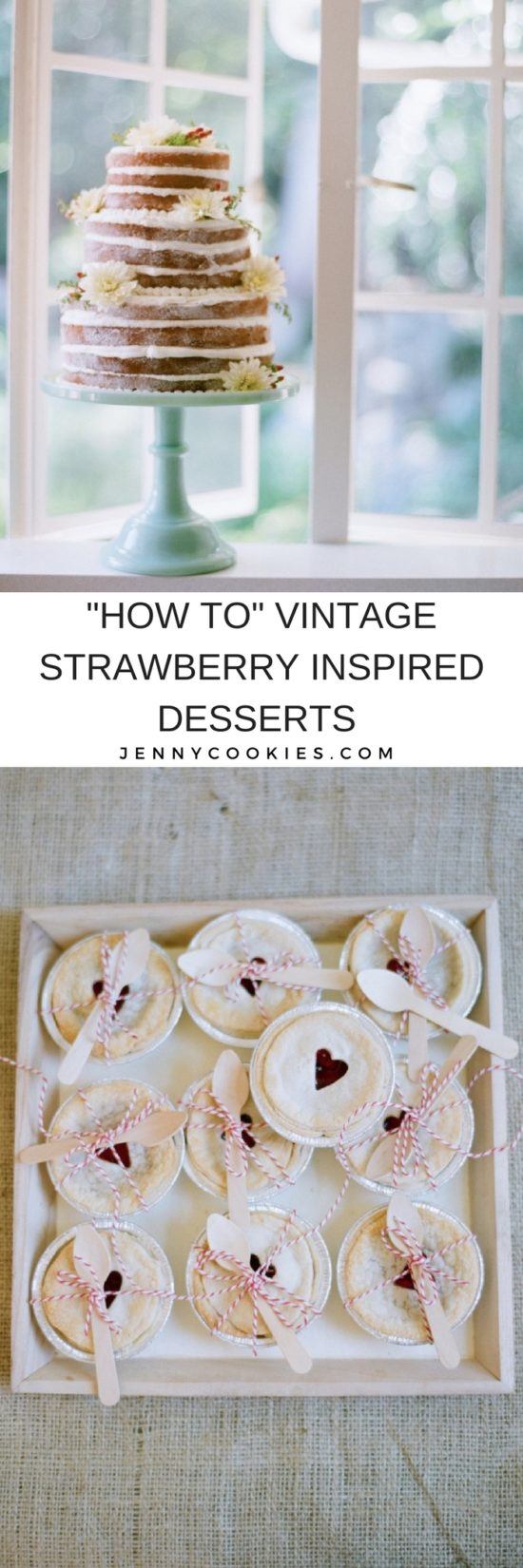 Vintage Strawberry Dessert Table | strawberry inspired dessert table | strawberry dessert recipes | dessert table ideas | homemade strawberry desserts || JennyCookies.com #strawberrydesserts #desserttable #easydesserts