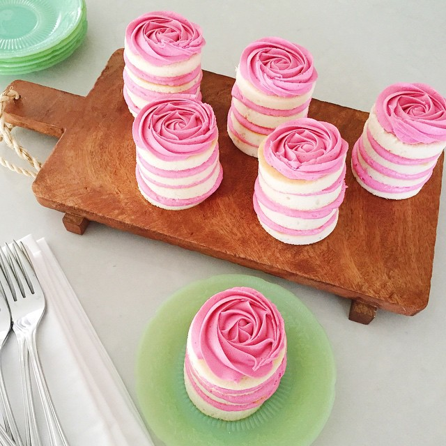 I can hardly stand the cuteness!! Keep an eye out for my mini vanilla rose cake recipe on the blog later this week!