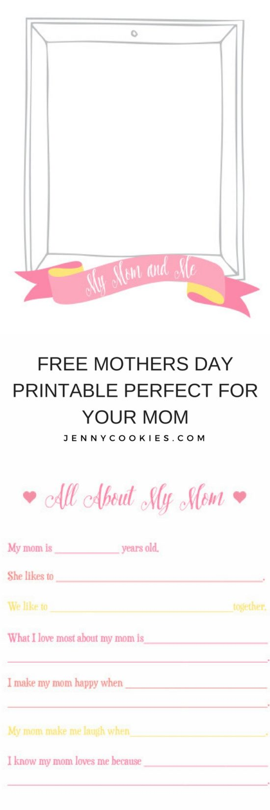 Free Printable Mother's Day Card | diy Mother's Day card || JennyCookies.com #printablecard #mothersdaycard #freeprintable