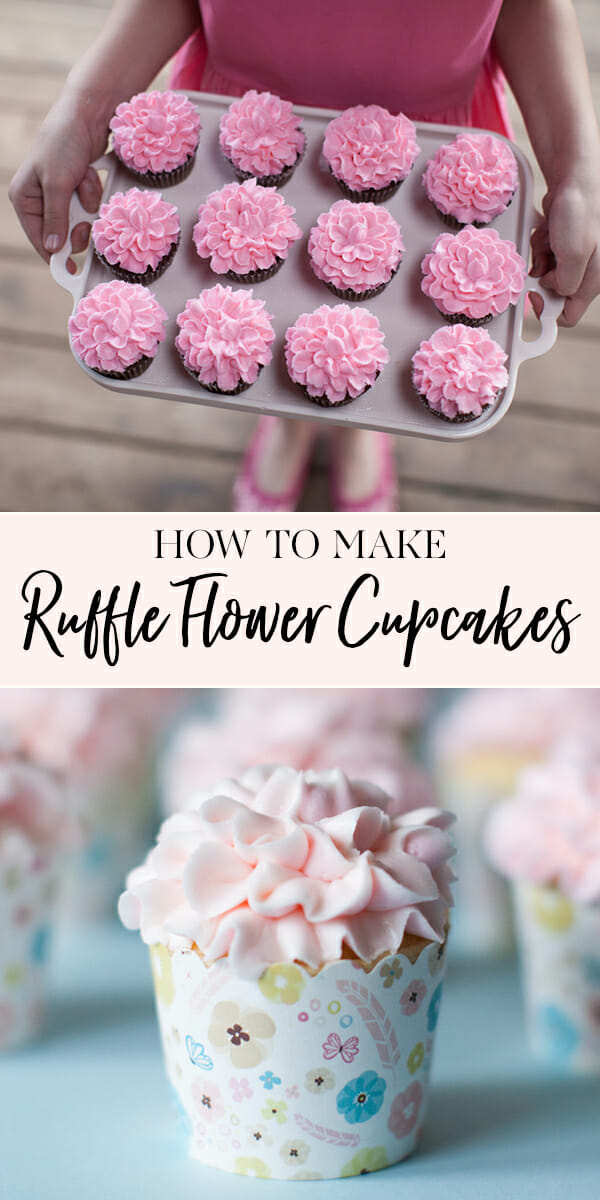 How to Make Ruffle Flower Cupcakes | easy cupcake tutorials | diy cupcake recipes | how to decorate a cupcake | icing flower tutorial | cupcake decorating ideas || JennyCookies.com #flowercupcakes #cupcakedecor #diycupcakes #cupcakes #jennycookies