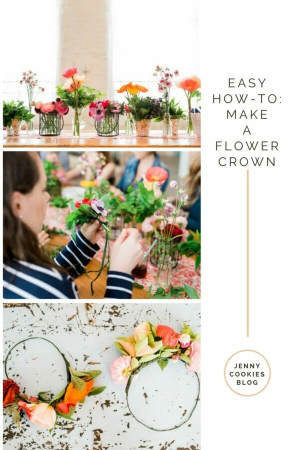 Easy How-To: Make a Flower Crown | How to Host a Flower Crown Party | flower themed party ideas | hosting a flower themed party | party ideas for girls | girl party theme ideas | spring party decor | spring floral decor || JennyCookies.com