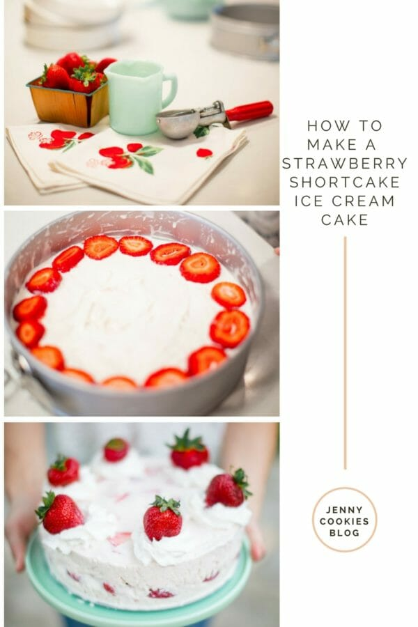 How to Make a Strawberry Shortcake Ice Cream Cake | how to make an ice cream cake | ice cream cake recipes | recipes using ice cream | strawberry shortcake recipes | recipes using strawberry shortcake | strawberry shortcake themed recipes | recipes using fresh strawberries | homemade dessert recipes using strawberries | homemade cake recipes || JennyCookies.com