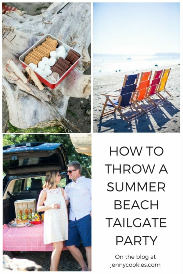 How to Throw a Beach Tailgate Party | hosting a beach party | party ideas for summer | beach party tips | hosting a beach party | tailgating on the beach | summer fun party ideas || JennyCookies.com