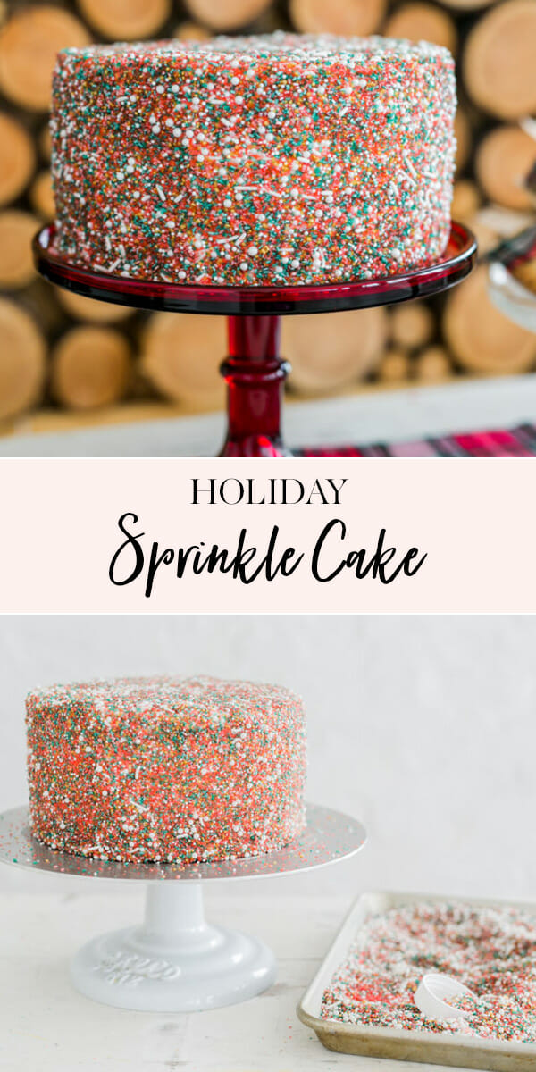 My Holiday Sprinkle Cake is super easy, but festive! Add a pop of color to holiday dessert table with this DIY holiday cake! || JennyCookies.com #sprinkcake #christmascake #cakedecorating #holidaydesserts