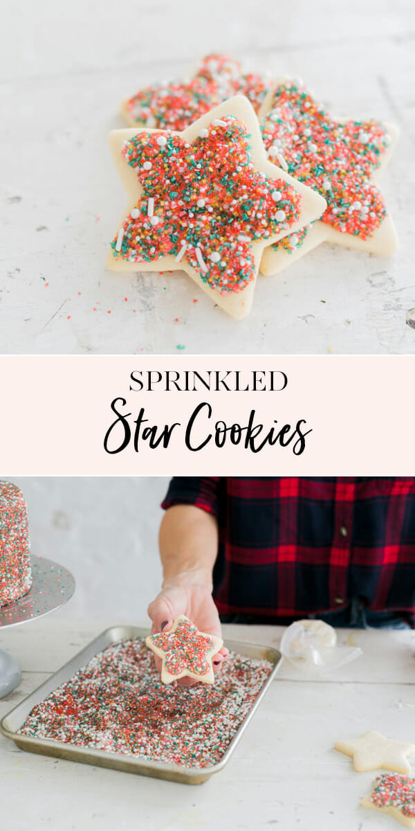 These Sprinkled Star Cookies are an easy, but fun, treat for your kids this holiday season. Simply add icing and dip into Christmas colored sprinkles for a fun holiday dessert! || JennyCookies.com #holidaycookies #cookiedecorating #christmascookies