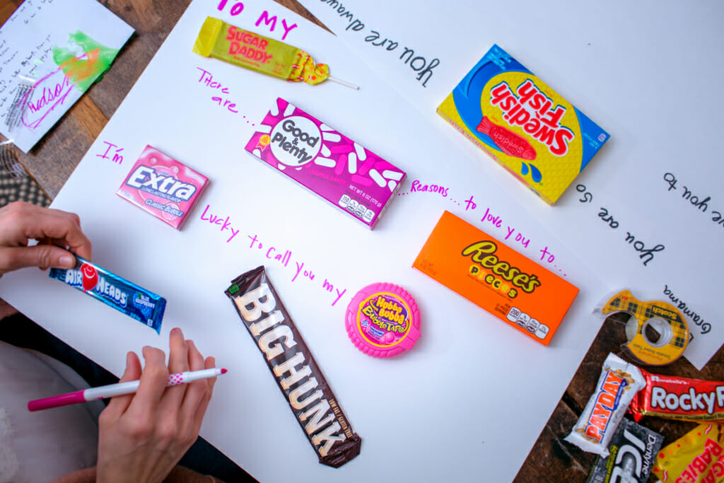 Bar Card Greeting Lay Candies Out On Poster Board To Ensure You Have Enough Room For Everything Once Confirm Space Your