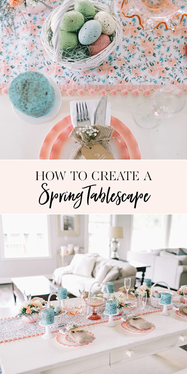 #ad How to Create a Spring Tablescape | tablescape ideas | spring table decor | spring decorating ideas || JennyCookies.com #springtable #tablescape #springdecor #handmadewithjoann