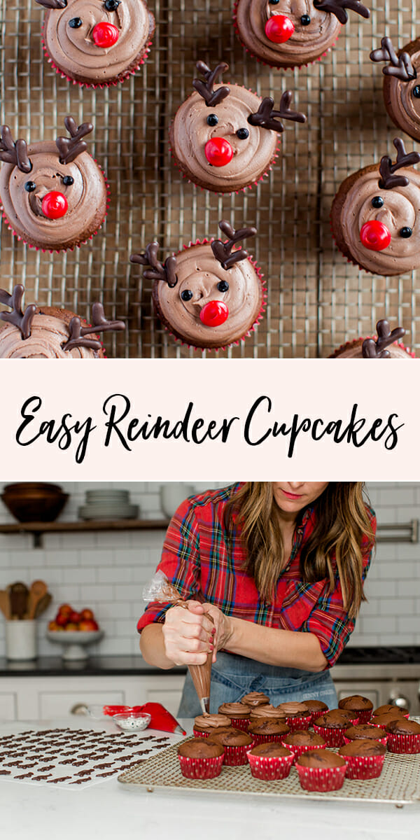 #ad Easy Reindeer Cupcakes | Christmas dessert recipes | holiday dessert recipes | fun cupcake recipes || JennyCookies.com #reindeer #cupcakes #christmas #holidaydesserts #jennycookies #handmadewithjoann