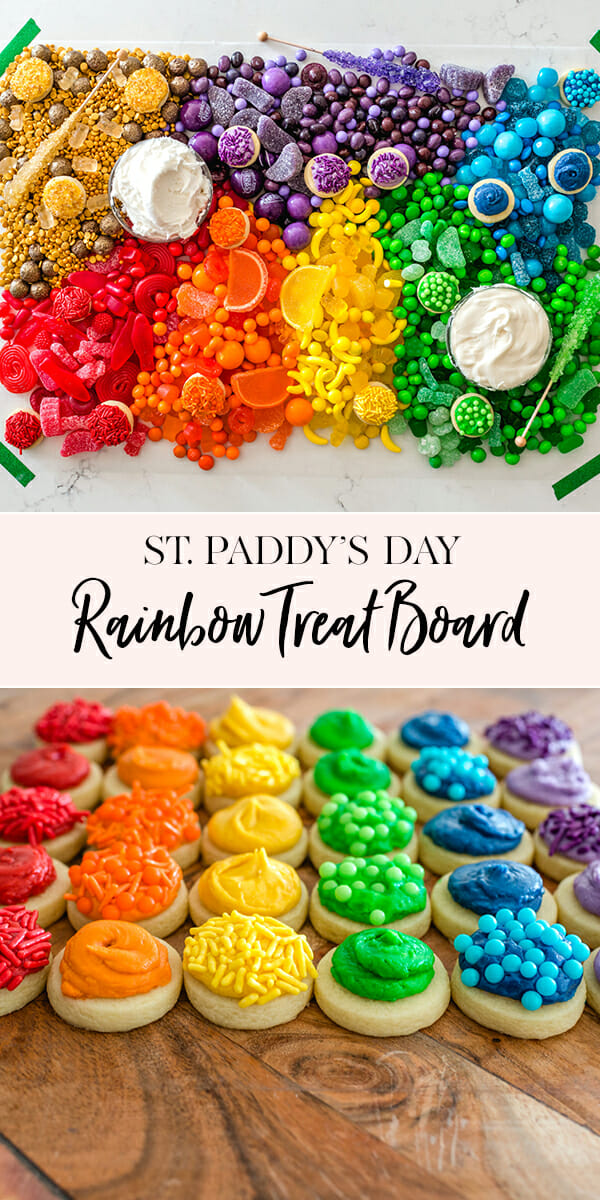 #ad Our St. Patrick's Day Rainbow Treat Board makes for a perfect St. Paddy's day dessert! || JennyCookies.com #stpatricksday #rainbow #stpatricksdaydesserts #jennycookies #handmadewithjoann