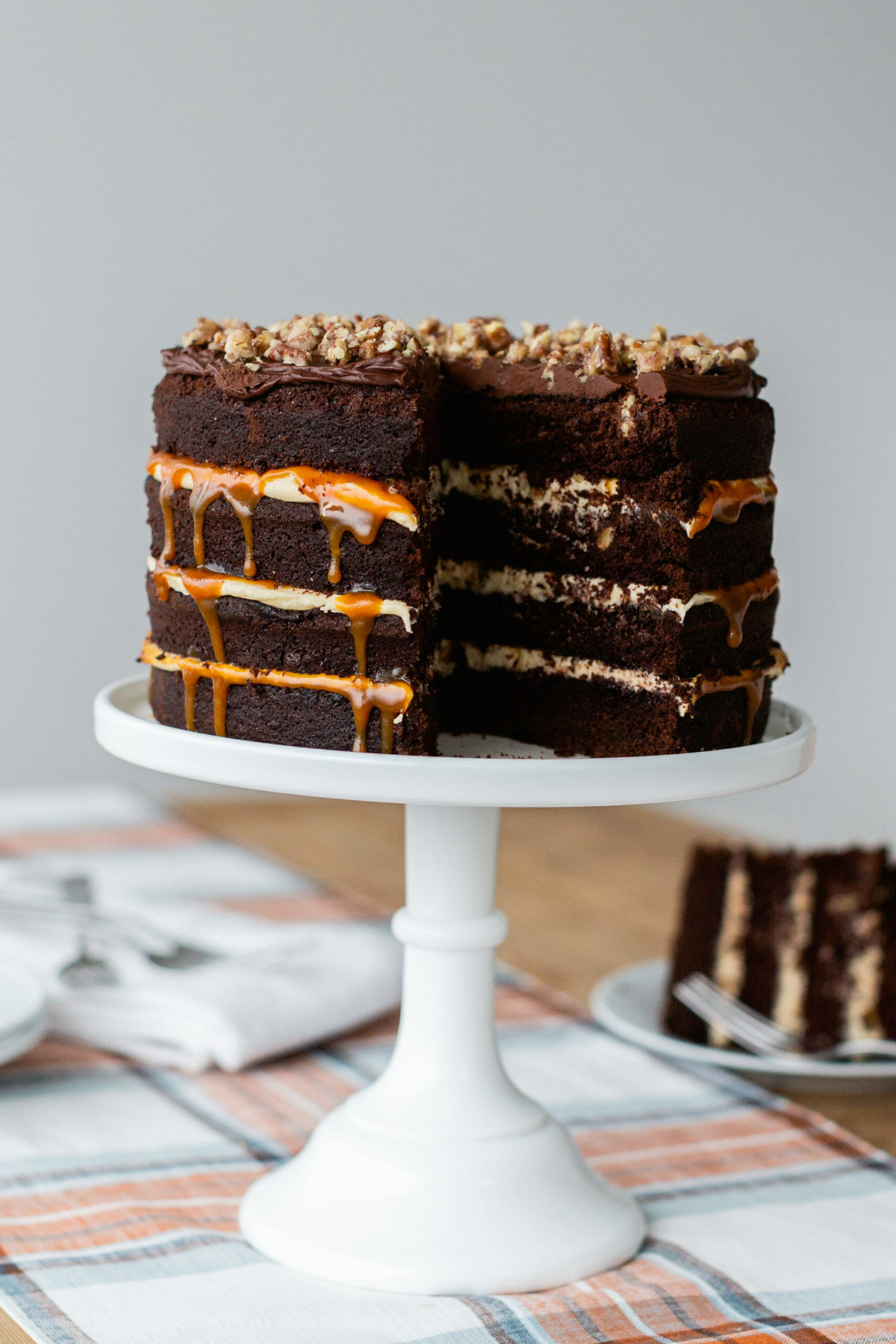 Cake Perfection: Chocolate Pecan Guinness Caramel Cake